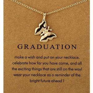 Jewelry - 'Graduation' Gold Butterfly Charm Necklace & Card